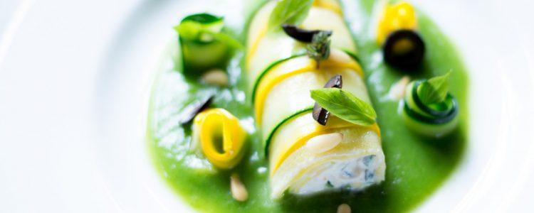 « Cannellonis de courgette » au chèvre frais et thym citronné